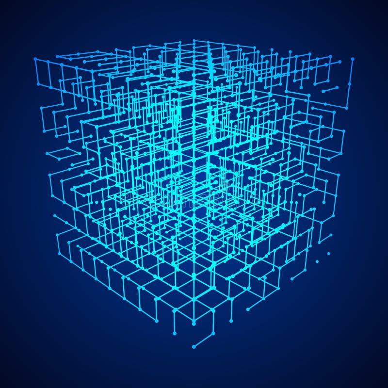Wireframe Mesh Cube stock illustrationer