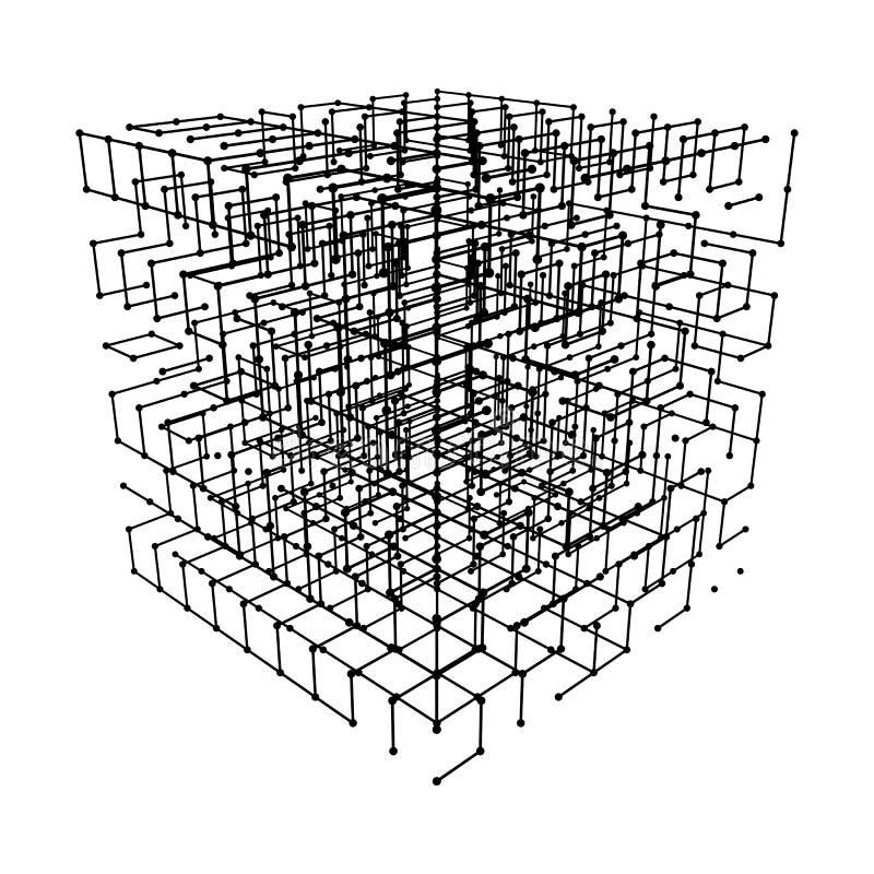 Wireframe Mesh Cube royaltyfri illustrationer
