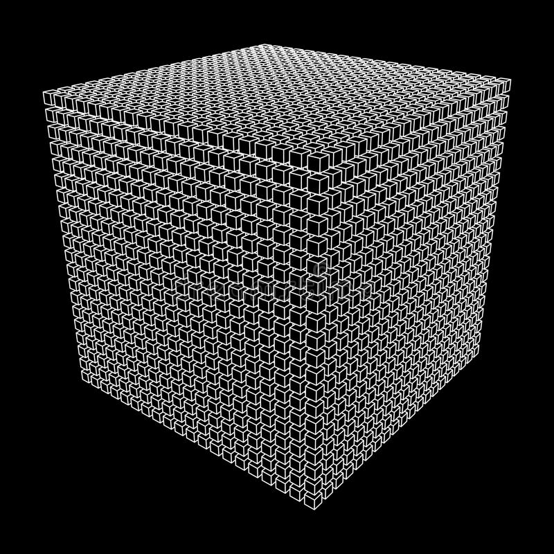 Wireframe Mesh Cube. Wireframe Mesh Cube make with many small cubes. Connection Structure. Digital Data Visualization Concept. Vector Illustration royalty free illustration