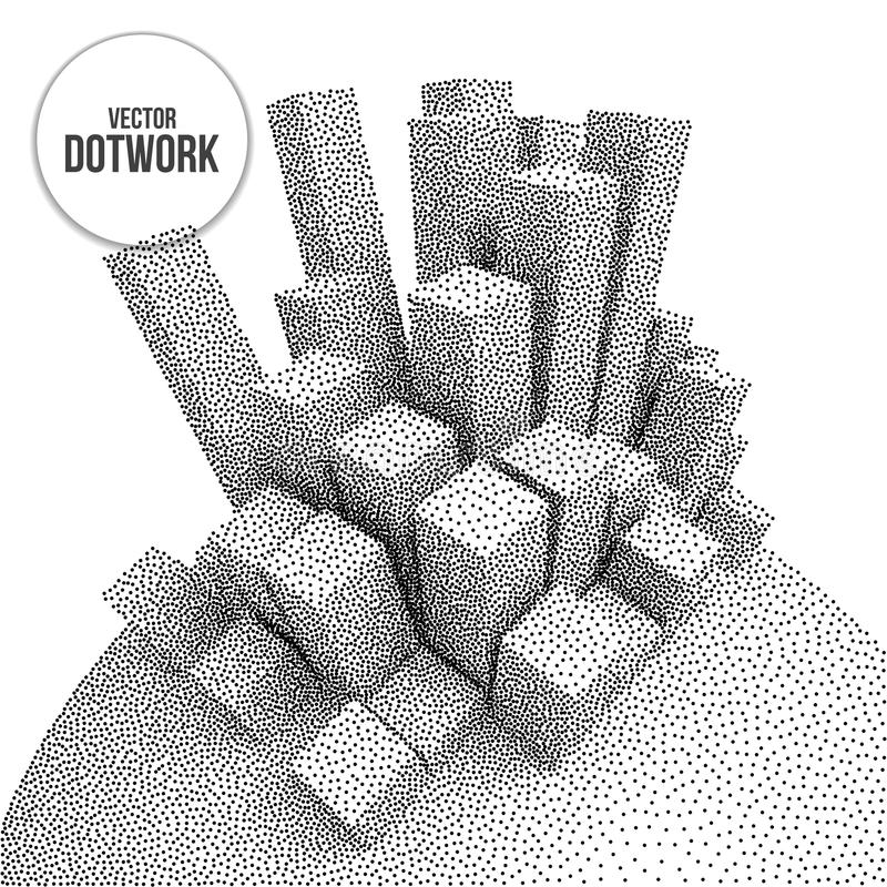 Wireframe Mesh Dotwork Vector Boxes. Wireframe Mesh Dotwork Boxes. Halftone Growing Structure. Engraving Vector Illustration. Digital Data Visualization Concept vector illustration