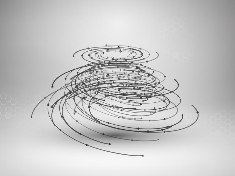 Wireframe mesh element. Abstract swirl form with connected lines and dots. vector illustration