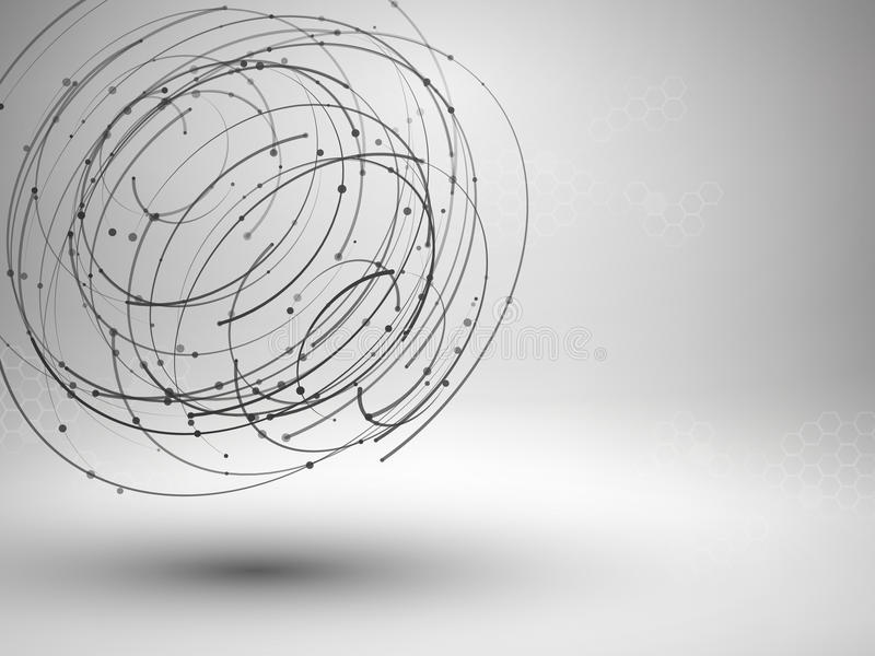 Drawing With Lines And Dots : Wireframe mesh element. abstract swirl form with connected lines and
