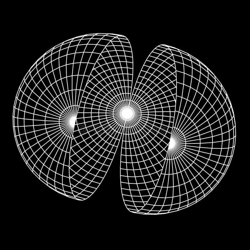 Wireframe Mesh Hemisphere illustration de vecteur
