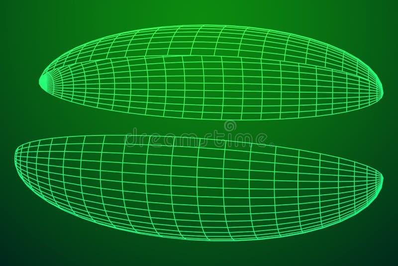 Wireframe Mesh Hemisphere illustration stock