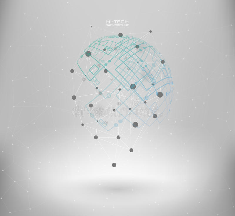 Wireframe mesh polygonal element. Abstract form with connected lines and dots. Infographic elements. Vector science Polygonal background. Futuristic HUD royalty free illustration