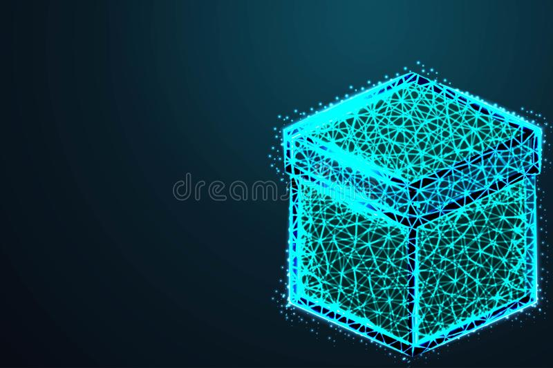 Wireframe mesh polygonal element. Cube with connected lines and dots. with crumbled edge on blue night sky with dots, stars and. vector illustration