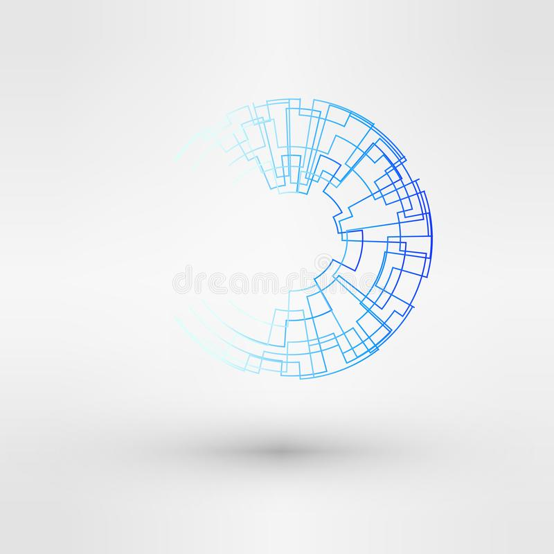 Wireframe logo polygonal element. Torus with connected lines and dots. Vector Illustration EPS10. royalty free illustration