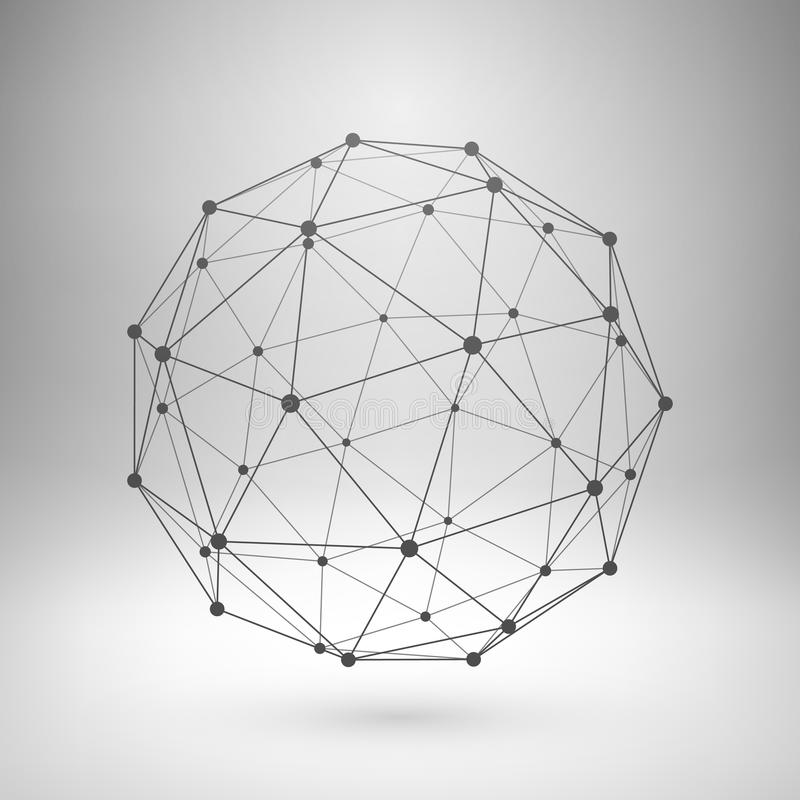 Wireframe mesh polygonal sphere. Wireframe mesh polygonal element. Sphere with connected lines and dots. Vector Illustration EPS10