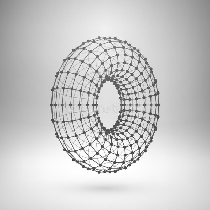 Wireframe mesh polygonal torus royalty free illustration