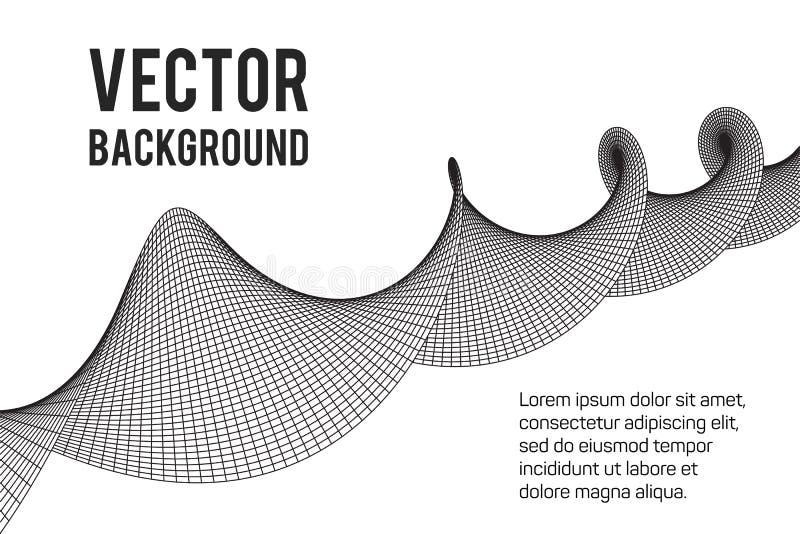Wireframe Mesh Sinusoidal Plane vektor abbildung
