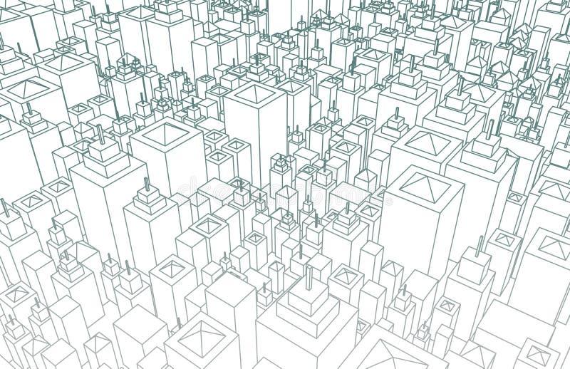Wireframe miasto ilustracja wektor