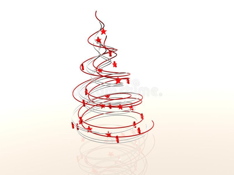 Wireframe Modern Abstract Christmas Tree Stock Illustration ...