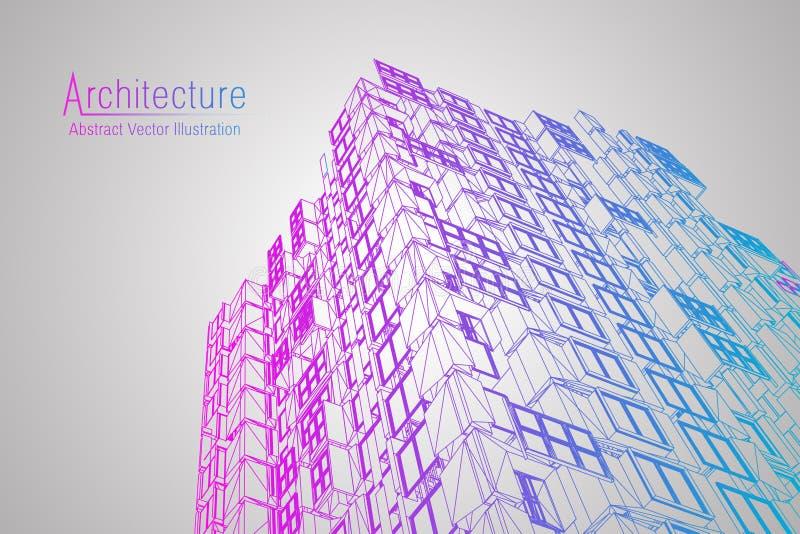 Wireframe moderno da arquitetura Conceito do wireframe urbano Ilustração da construção de Wireframe do desenho do CAD da arquitet ilustração stock