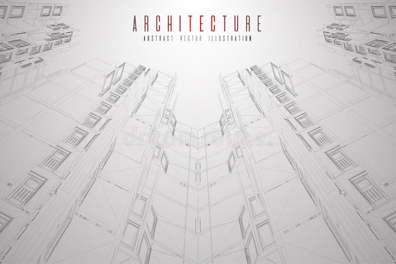 Wireframe moderno da arquitetura Conceito do wireframe urbano Ilustração da construção de Wireframe do desenho do CAD da arquitet ilustração do vetor