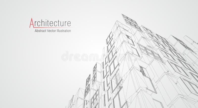 Wireframe moderno da arquitetura Conceito do wireframe urbano Ilustra??o da constru??o de Wireframe do desenho do CAD da arquitet ilustração stock