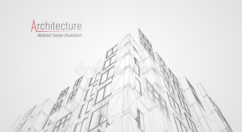 Wireframe moderno da arquitetura Conceito do wireframe urbano Ilustra??o da constru??o de Wireframe do desenho do CAD da arquitet ilustração do vetor