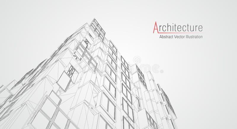 Wireframe moderno da arquitetura Conceito do wireframe urbano Ilustra??o da constru??o de Wireframe do desenho do CAD da arquitet ilustração royalty free