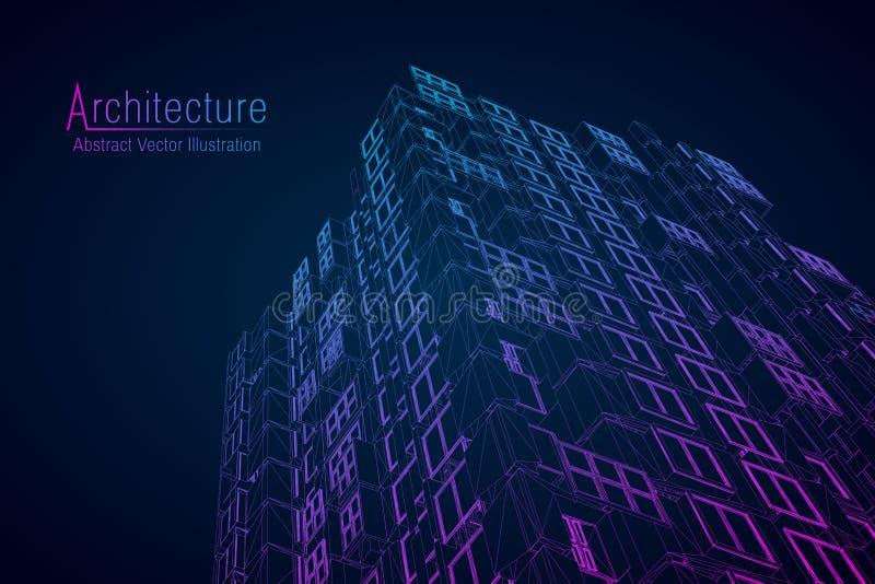 Wireframe moderno di architettura Concetto di wireframe urbano Illustrazione edificio di Wireframe del disegno di architettura ca royalty illustrazione gratis