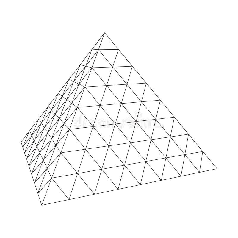 Wireframe molecular da grade da pirâmide ilustração royalty free