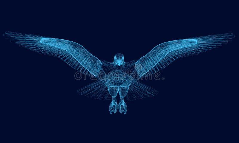 Wireframe орла распространяло свои крылья 3d Полигональный орел голубых линий на темной предпосылке также вектор иллюстрации прит иллюстрация штока