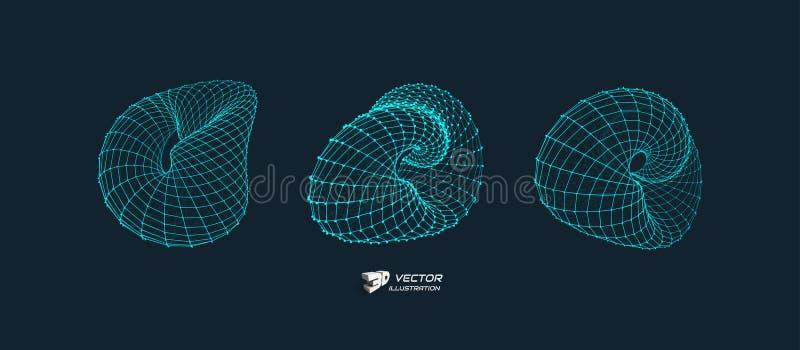Wireframe objekt med linjer och prickar Abstrakt struktur för anslutning 3D stock illustrationer
