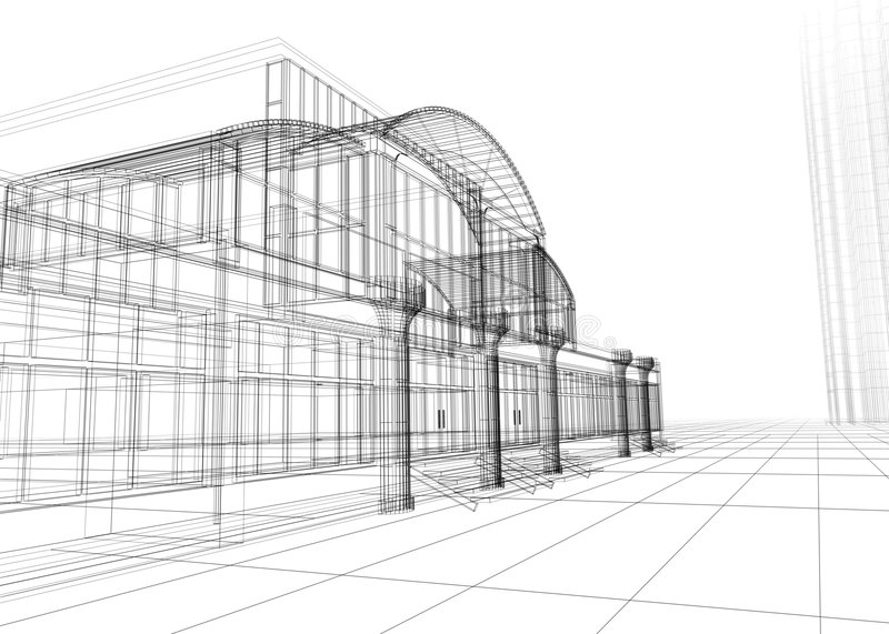 Wireframe of office building stock image