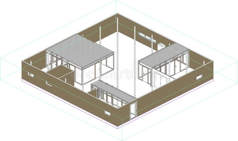 Wireframe perspective of a modern house in Japan vector illustration