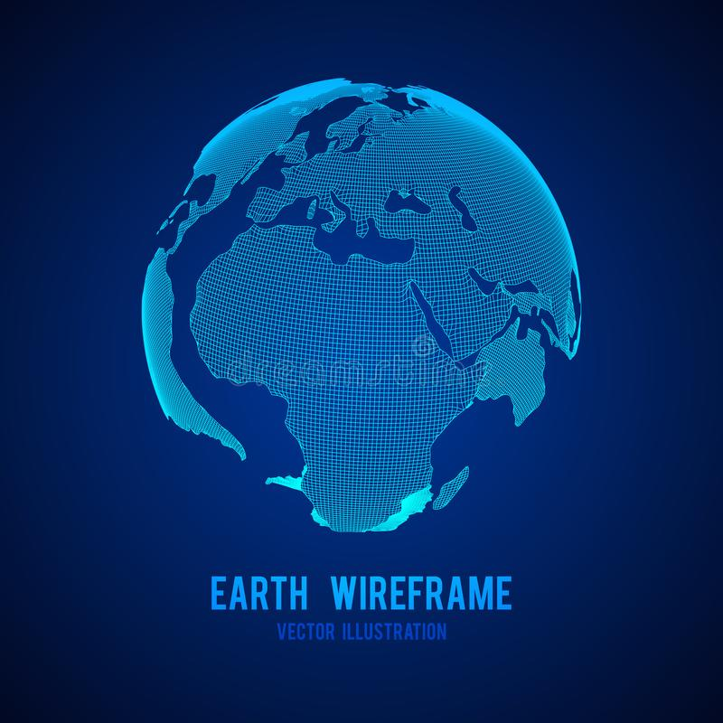 Wireframe planet Earth globe royalty free illustration