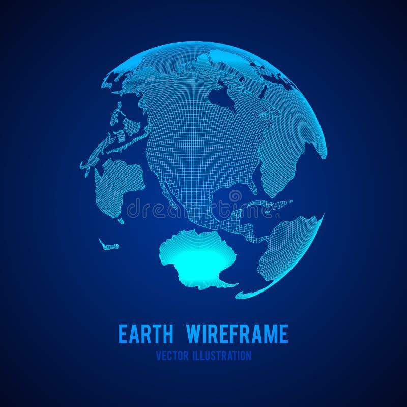 Wireframe planet Earth globe stock illustration