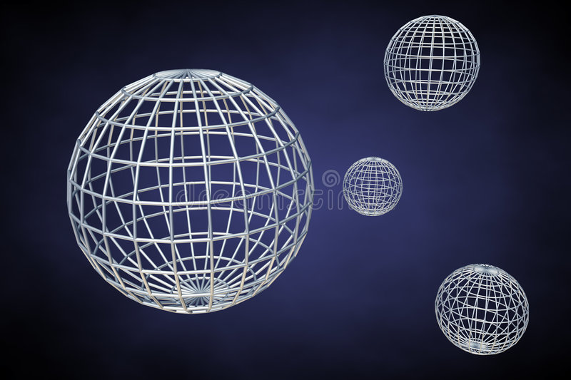 Wireframe planets royalty free illustration