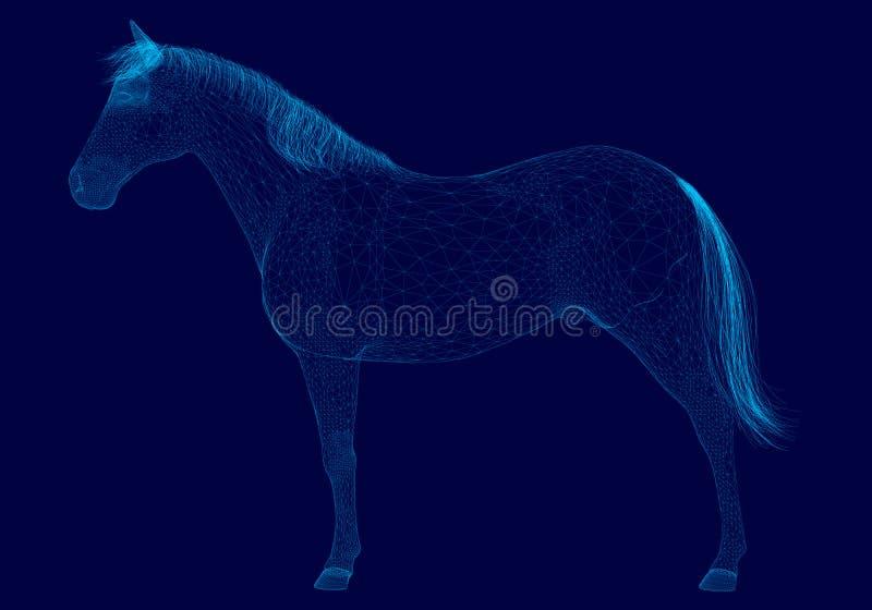 Wireframe poligonal do cavalo do vetor feito de linhas azuis em um fundo escuro Vista lateral 3d Ilustração do vetor ilustração stock