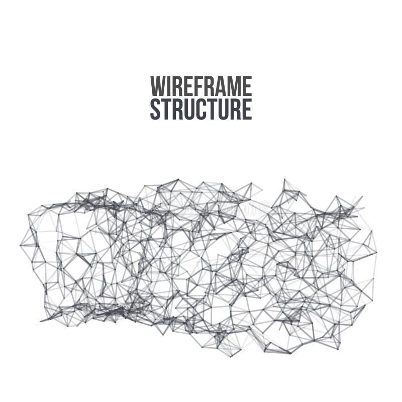 Wireframe poligonalny tło Abstrakt forma z związanymi liniami i kropkami wektor royalty ilustracja
