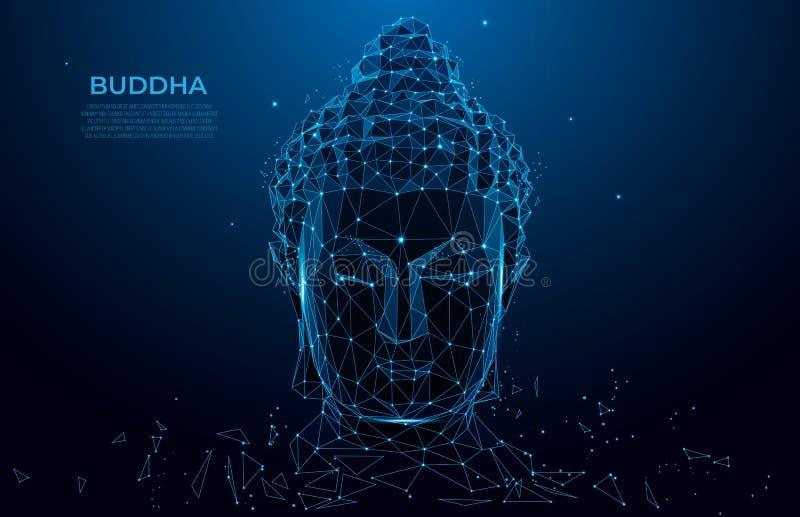 Wireframe polivinílico bajo de la silueta de la cabeza de Buda Concepto tailandés con Buda, estilo polivinílico bajo de la cultur libre illustration