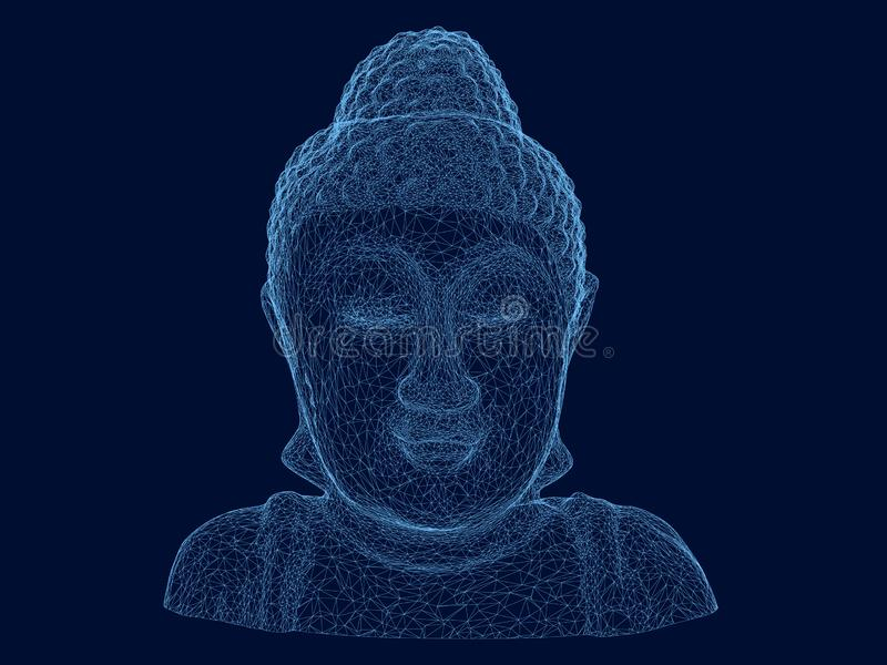 Wireframe polygonal bust of the Buddha. Buddha statue of blue lines on a dark background. 3D. Vector illustration stock illustration