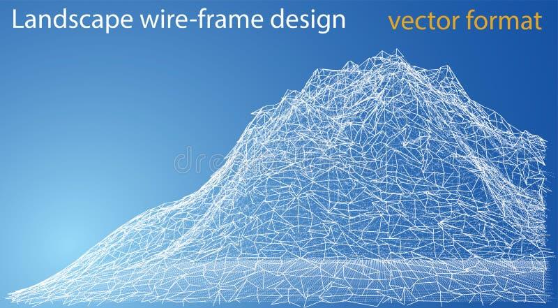 Wireframe polygonal landscape. Vector Illustration royalty free illustration