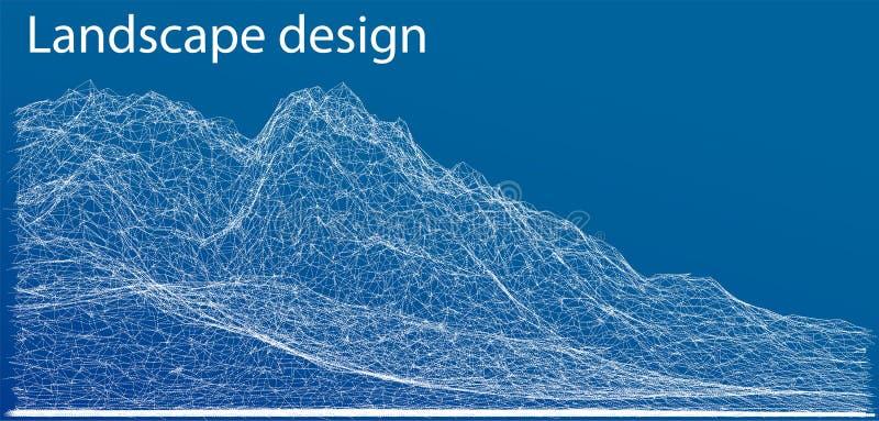 Wireframe polygonal landscape. Vector Illustration stock illustration