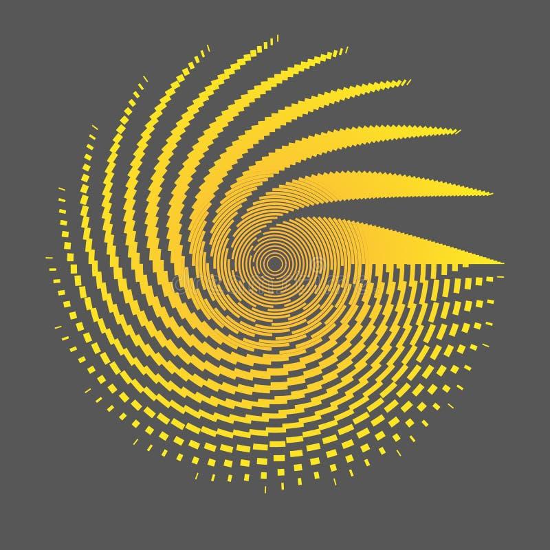 Wireframe radiale una griglia delle linee e delle bande arancio su un grafico scuro dell'estratto dell'elemento di progettazione  illustrazione vettoriale