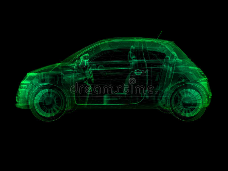 Wireframe x-ray illustration sub-compact car royalty free illustration