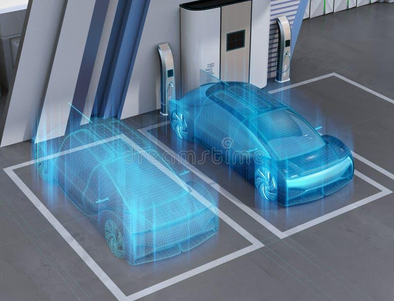 Wireframe rendering Fuel Cell zasila? autonomicznego samoch?d w Fuel Cell wod?r stacji ilustracja wektor