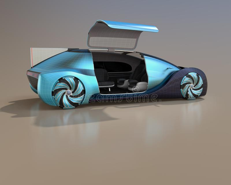 Wireframe rendering of self driving electric car on gradient background. Right door opened and front seats turned backward. 3D rendering image stock illustration