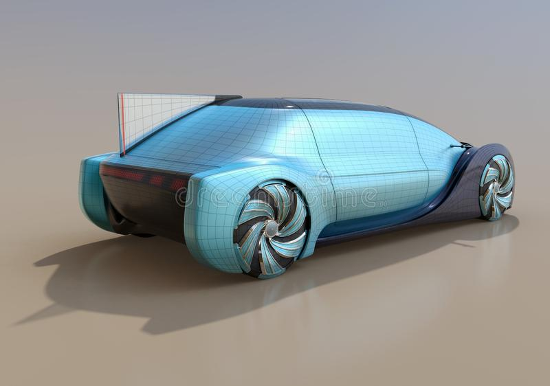 Wireframe rendering of self driving electric car on gradient background. 3D rendering image royalty free illustration