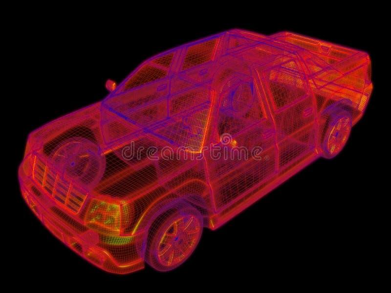 Wireframe rougeoyant d'un modèle du véhicule 3d images stock