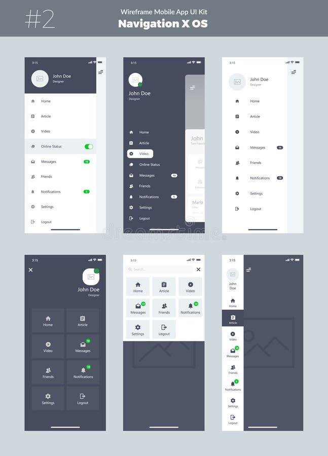 Wireframe sats för mobiltelefon X Mobil App UI, UX design Ny OS-navigering Menyskärmar royaltyfri illustrationer