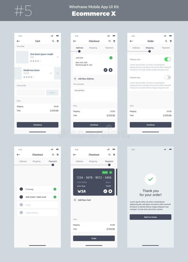 Wireframe sats för mobiltelefon Mobil App UI, UX design Nya ecommerceskärmar royaltyfri illustrationer