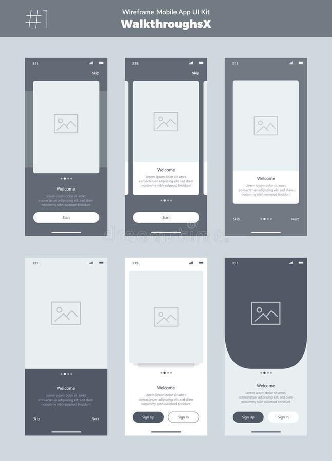 Wireframe sats för mobiltelefon Mobil App UI, UX design Nya walkthroughsskärmar stock illustrationer
