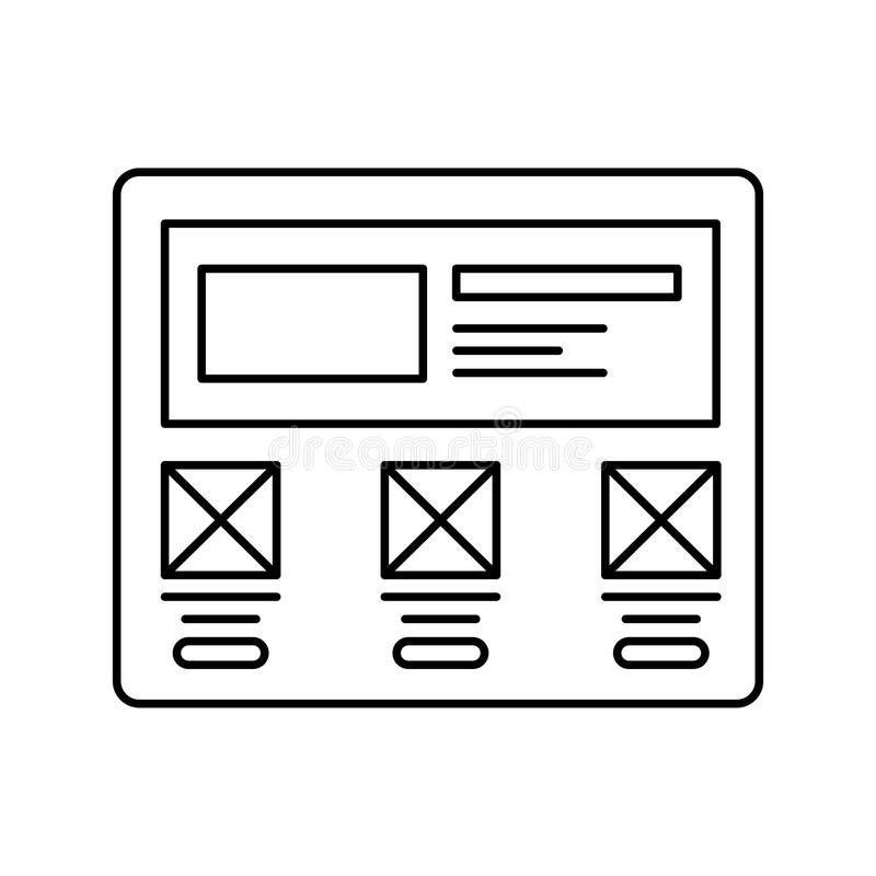 Wireframe in screen lined icon. Website page in browser line icon. Web page user interface. Isolated vector lined royalty free illustration
