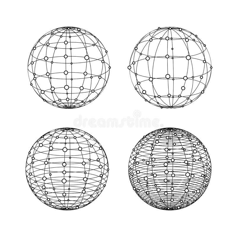 Wireframe sfery ustawiać Kula ziemska symbole z kropkami ilustracja wektor