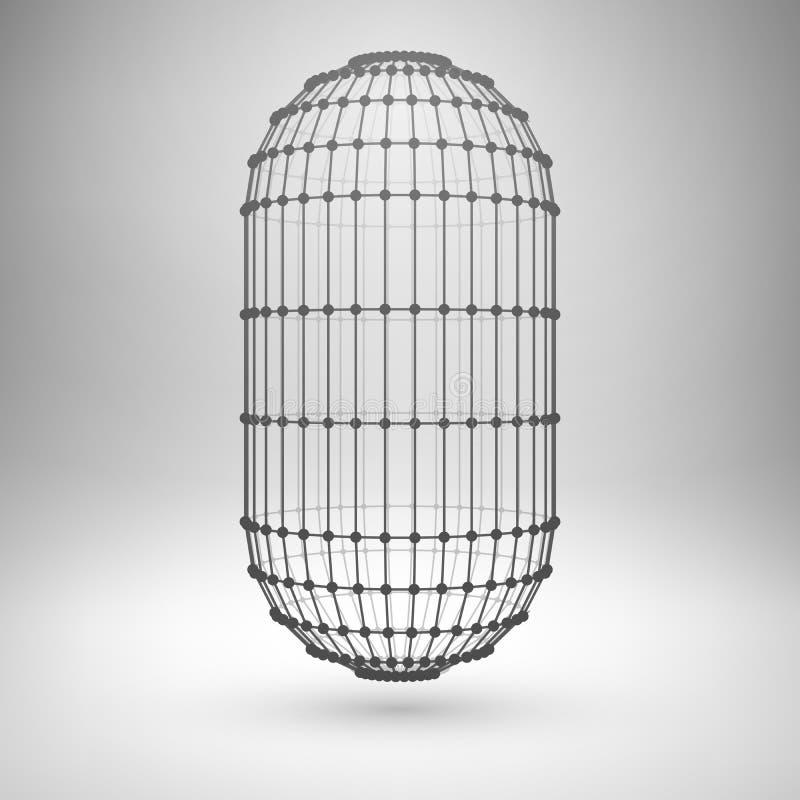 Wireframe siatki poligonalna kapsuła ilustracji