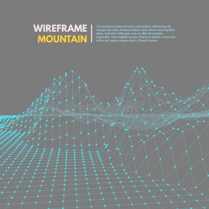 Wireframe siatki poligonalna powierzchnia ilustracja wektor