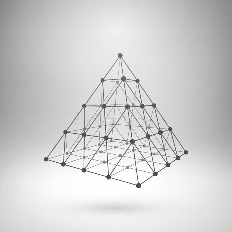 Wireframe siatki poligonalny ostrosłup ilustracja wektor